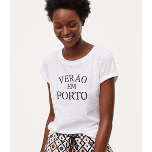 LOFT Verao Em Porto White Graphic Tee Size Medium